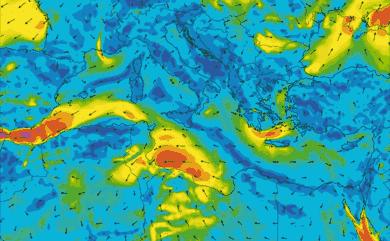 Prévisions de vent 11 à 16 jours Méditerranée GFS 27km