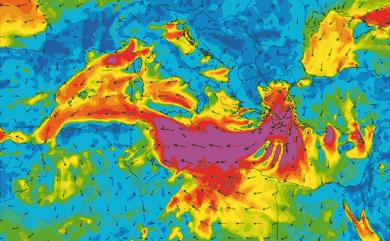 Prévisions de vent 1 à 10 jours Méditerranée GFS 27km