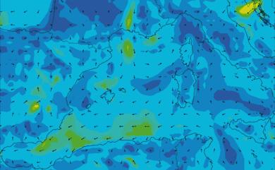 Prévisions de vent 1 à 10 jours Méditerranée Ouest GFS 27km