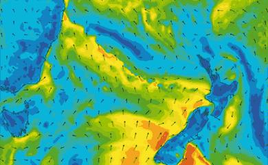 Prévisions de vent 1 à 8 jours Mer de Tasman GFS 27km