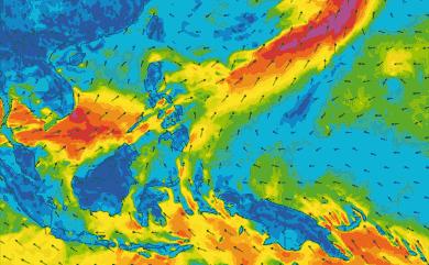 Prévisions de vent 11 à 16 jours Philippines GFS 27km