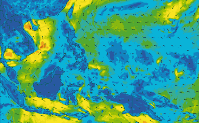 Prévisions de vent 1 à 8 jours Philippines GFS 27km