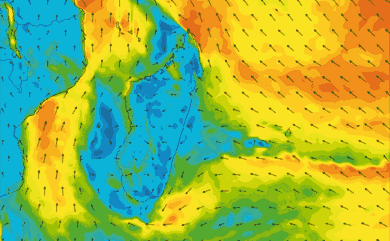 Prévisions de vent 11 à 16 jours Reunion, Madagascar, Maurice GFS 27km