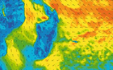 Prévisions de vent 1 à 10 jours Reunion, Madagascar, Maurice GFS 27km