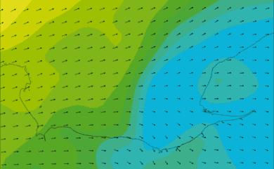 Prévisions de vent HD 96h Baie de Seine, Le Havre WRF 5km