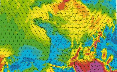 Prévisions de vent pour la France