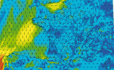 Prévisions de vent HD 96h France WRF 5km