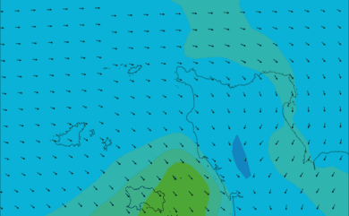 Prévisions de vent HD 96h Nord Cotentin, Cherbourg WRF 5km