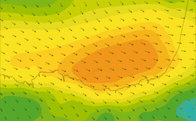 Prévisions de vent HD 96h Pays Basque, Sud Landes WRF 5km