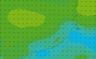 Prévisions de vent HD 96h Seine Maritime, Somme WRF 5km